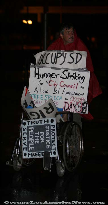 Occupy San Diego protestor on hunger strike against his City Council for 1st Ammendment rights. Occupy The Ports Long Beach 2011.  Photo byMitch for OccupyLosAngelesNews.org
