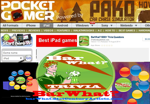 "ADVERTISEMENT:BarWhat? Pocket Gamer's Best iPAD Games"" list! Download."