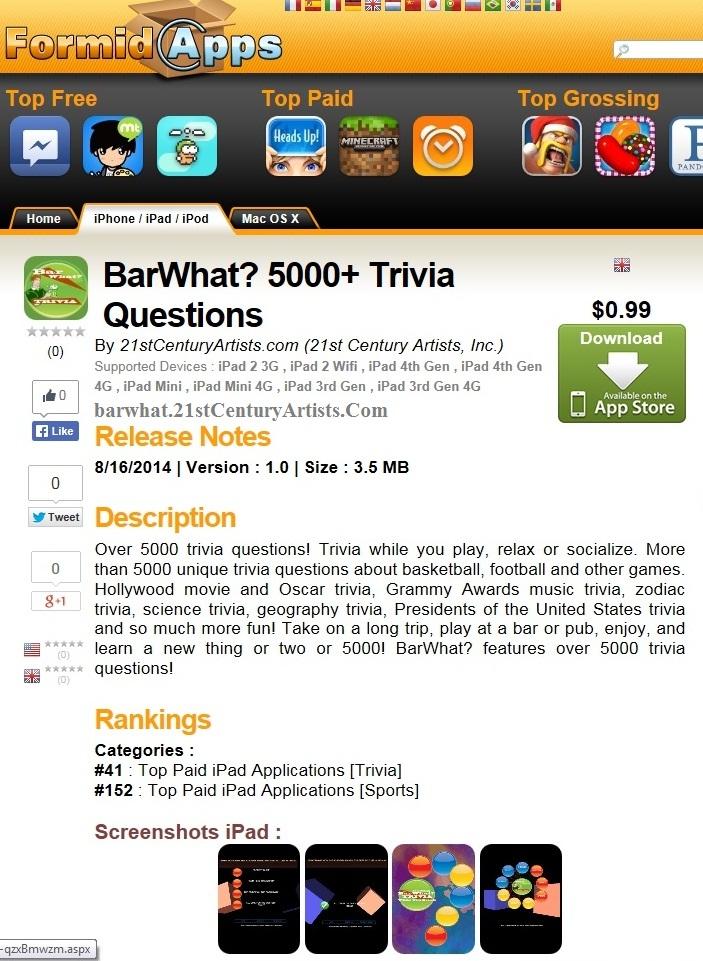 """BarWhat?...""""Best iPad Games""""...<a href=""""http://www.pocketgamer.co.uk/"""">Pocket Gamer</a>!"""