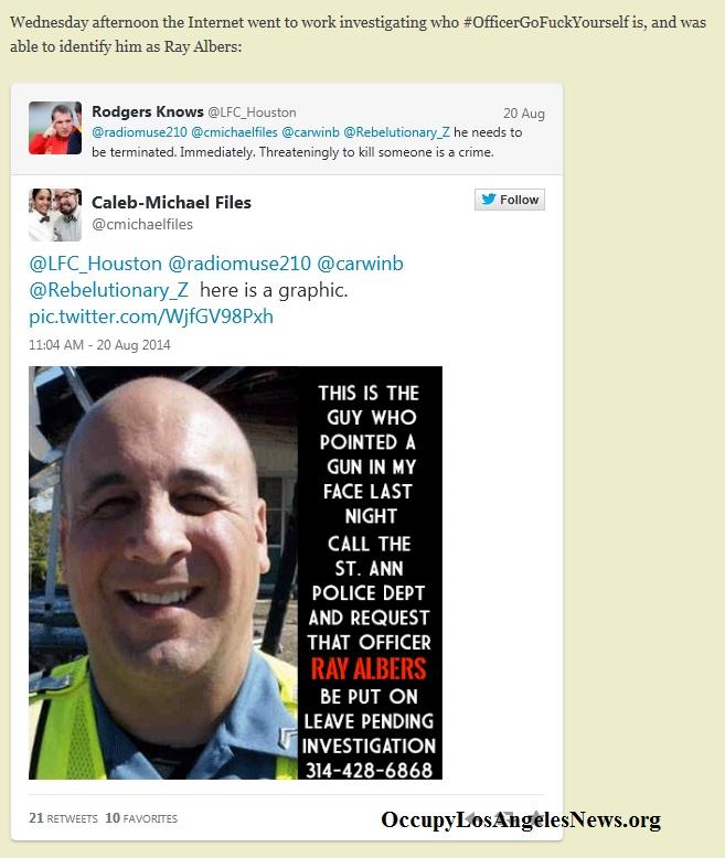 "St. Ann Missouti Police Officer""OfficerGoFuckYourself"" Ray Albers"