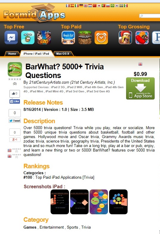 """""""Top 100 Apps"""" """"Best iPad Games""""....BarWhat? 5000+ Trivia Questions - Grammy Awards, Sports, More!"""