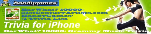 BarWhat? 10000+ Grammy Trivia Featured on HandyGames.com's #1 Trivia List