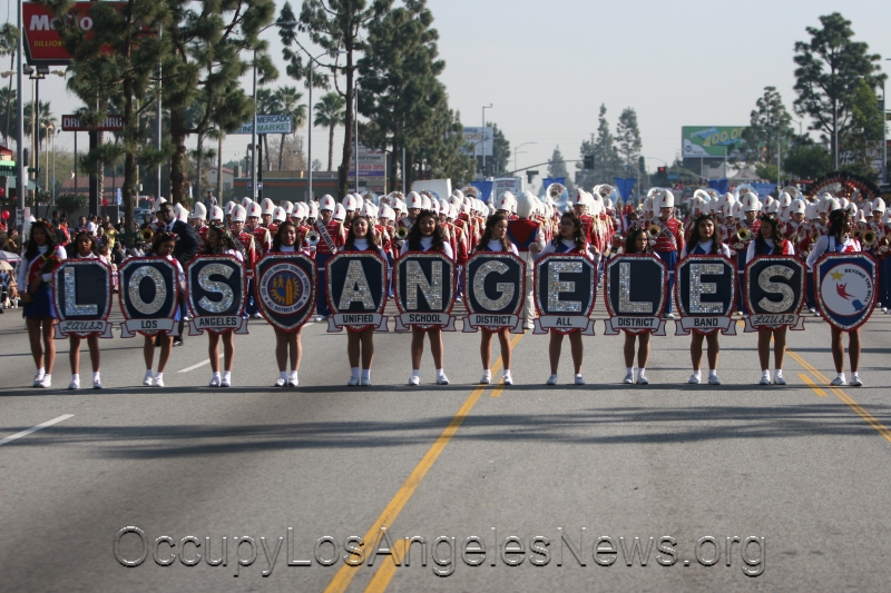 This marching band was from Los Angeles Unified School District at the parade.