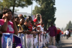 Thousands watched along the Martin Luther King parade route.