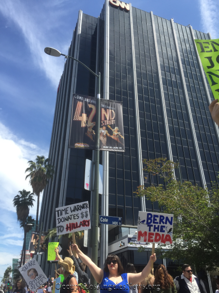 Protestors surrounded the CNN headquarters in Hollywood to protest the news network and what they considered its unfair political coverage