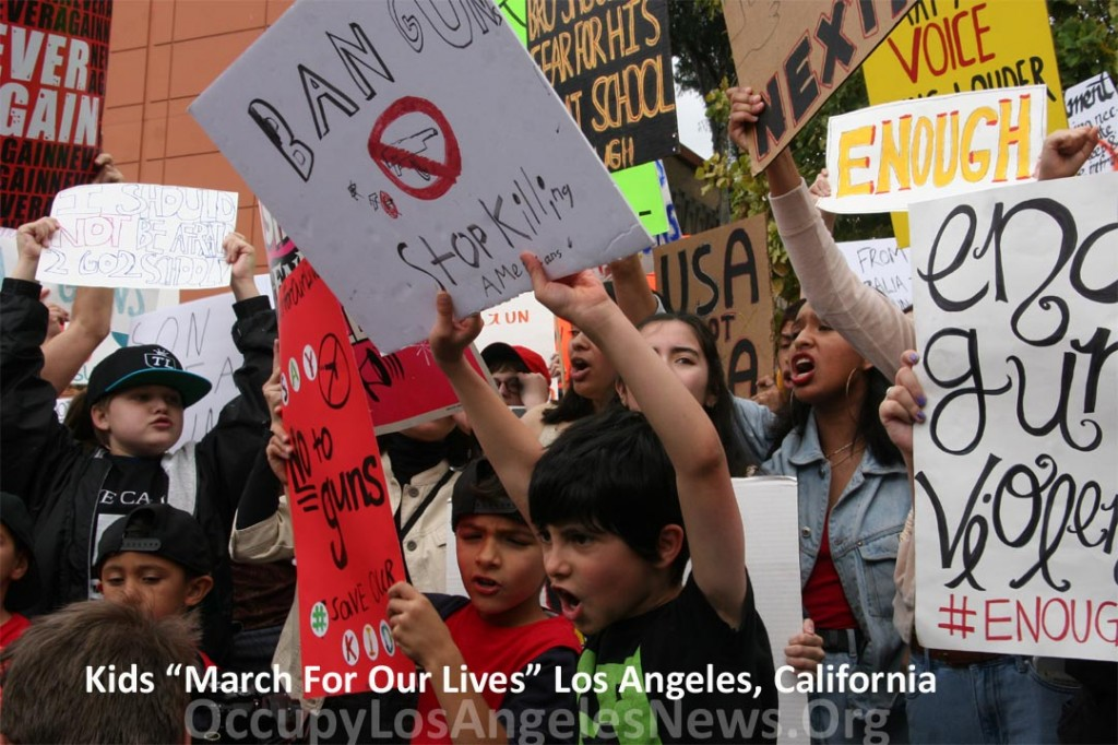 "Hundreds of Thousands of Kids and Adults Nationwide ""March For Our Lives"" - Tens of Thousands March to Los Angeles City Hall, Greeted By Mayor"